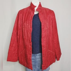 J. Jill Ruby Red Quilted Silk Blend Coat Sz LT NWT